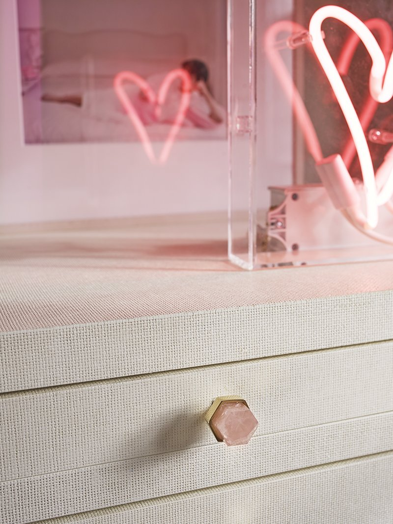 Thea Small Knob by Matthew Studios in rose quartz and polished brass.